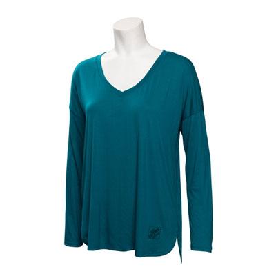 Ladies Drapey Long-Sleeve V-Neck Shirt