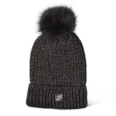 Ribbed Beanie with Faux Fur Pom