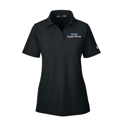 Ladies' Mobil Super Moto™ Under Armour® black polo