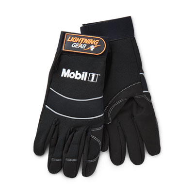 Faux leather mechanic's gloves, large