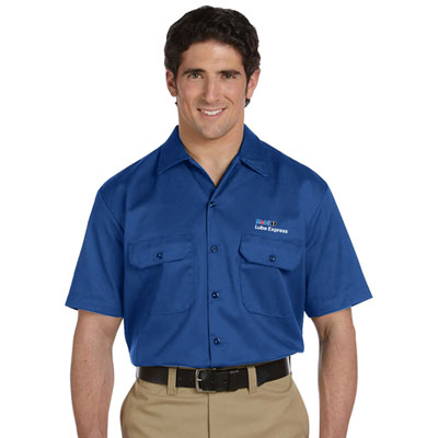 Mobil 1 Lube Express™ Dickies® blue work shirt