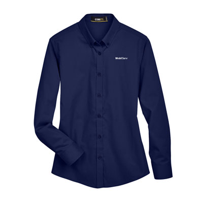 Ladies' Mobil Serv™ UV navy dress shirt